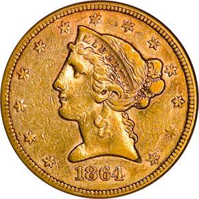 1864 $5 MS obverse