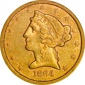 1864 S $5 MS obverse