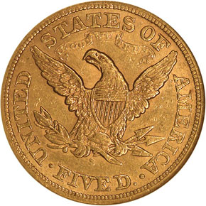 1866 S MOTTO $5 MS reverse