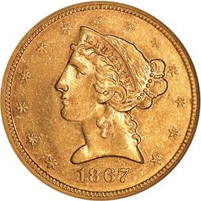 1867 $5 MS obverse