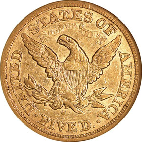 1869 S $5 MS reverse