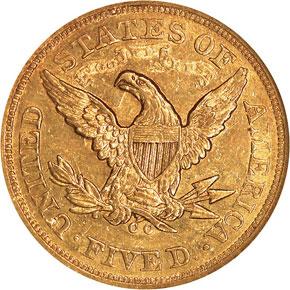 1871 CC $5 MS reverse