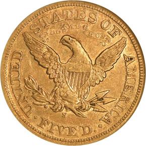 1872 S $5 MS reverse