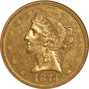 1874 $5 MS obverse