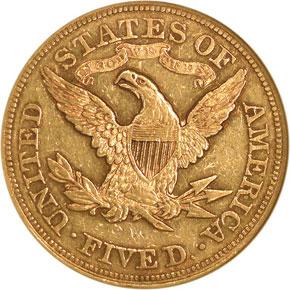 1876 $5 MS reverse