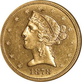1878 $5 MS obverse