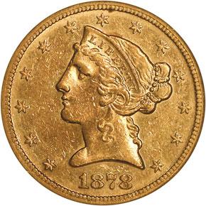 1878 S $5 MS obverse