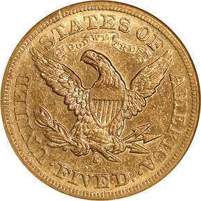 1878 S $5 MS reverse