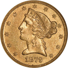 1879 $5 MS obverse