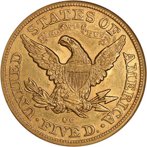 1879 CC $5 MS reverse