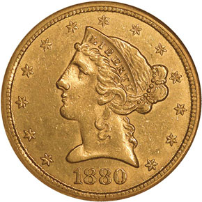 1880 CC $5 MS obverse