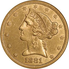 1881 CC $5 MS obverse