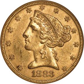 1883 $5 MS obverse