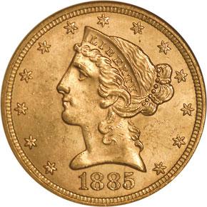 1885 $5 MS obverse