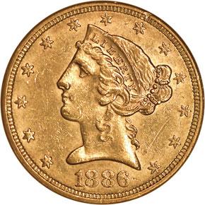 1886 $5 MS obverse