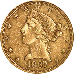 1887 $5 PF obverse