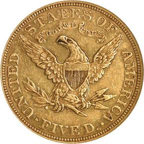 1887 $5 PF reverse