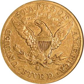 1888 S $5 MS reverse