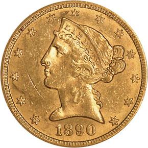 1890 CC $5 MS obverse