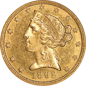 1892 O $5 MS obverse