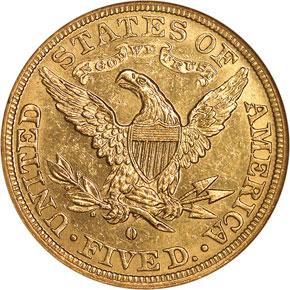 1892 O $5 MS reverse