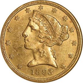 1893 O $5 MS obverse