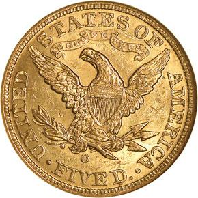 1893 O $5 MS reverse