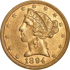 1894 $5 MS obverse