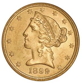 1899 $5 MS obverse