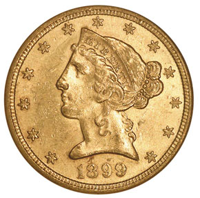1899 S $5 MS obverse