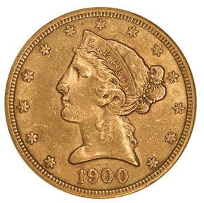 1900 S $5 MS obverse