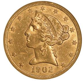 1902 $5 MS obverse