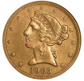 1903 S $5 MS obverse