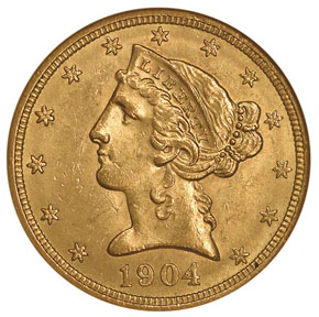 1904 $5 MS obverse