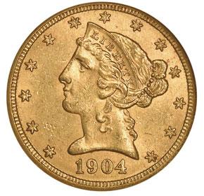 1904 S $5 MS obverse
