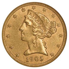 1905 S $5 MS obverse
