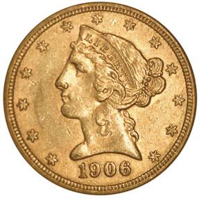 1906 $5 MS obverse