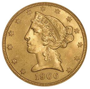 1906 D $5 MS obverse
