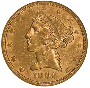 1906 S $5 MS obverse