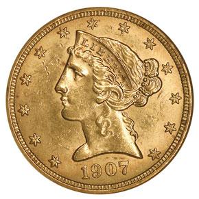 1907 D $5 MS obverse