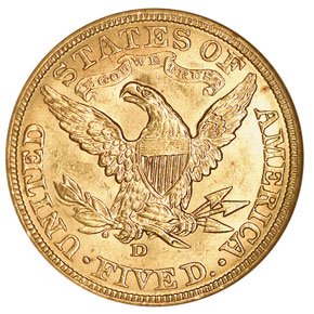 1907 D $5 MS reverse