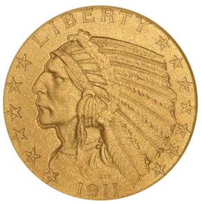 1911 $5 PF obverse