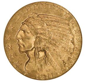 1911 S $5 MS obverse