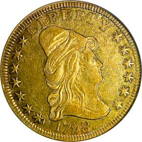 1798/7 STARS 7X6 $10 MS obverse
