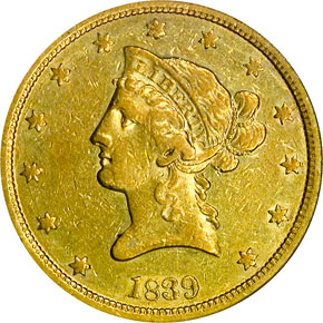 1839 SM LET HEAD OF 40 $10 MS obverse