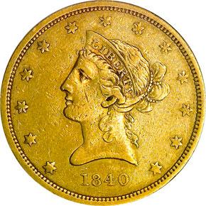 1840 $10 MS obverse