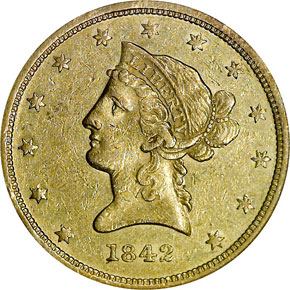 1842 SMALL DATE $10 MS obverse