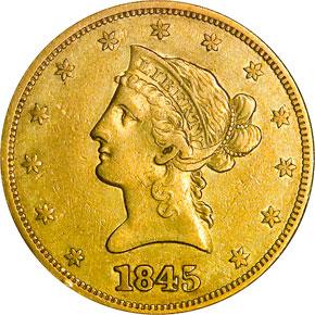 1845 $10 MS obverse