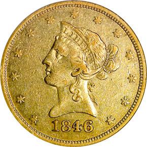 1846 O $10 MS obverse