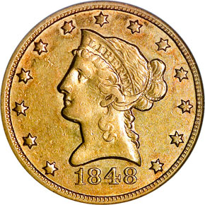 1848 O $10 MS obverse